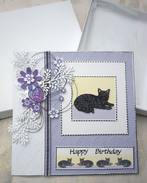 Birthday Card Hand Made Keepsake Card with Embroidered Cat Centrepeice
